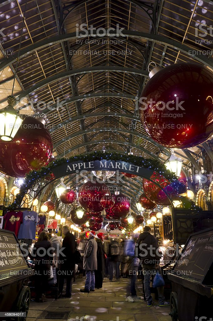 Covent Garden market Christmas decoratons, London royalty-free stock photo