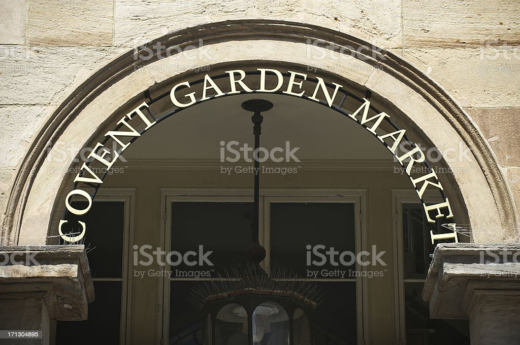 Covent Garden Market Sign Archway London stock photo