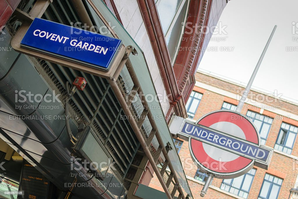 Covent Garden tube station sign stock photo