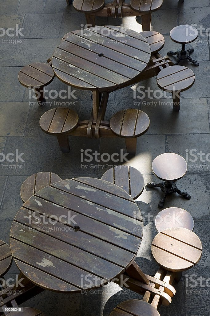 Covent garden wooden bench tables royalty-free stock photo