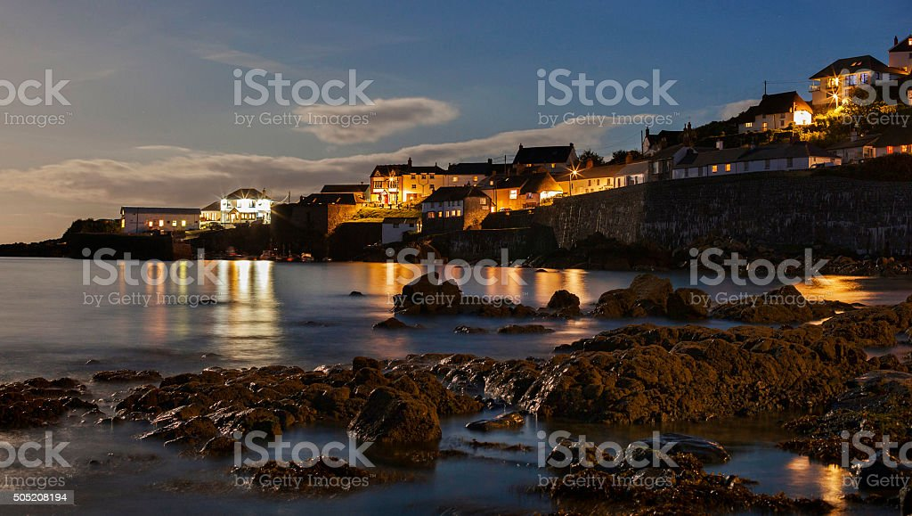 Coverack at night stock photo