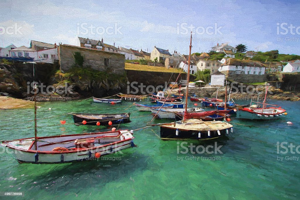 Coverack Cornwall fishing village harbour and boats illustration oil painting stock photo