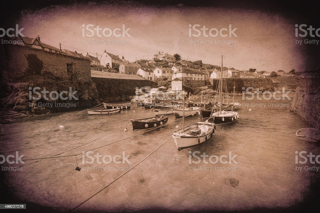 Coverack harbour Cornwall England UK Lizard Peninsula vintage stock photo