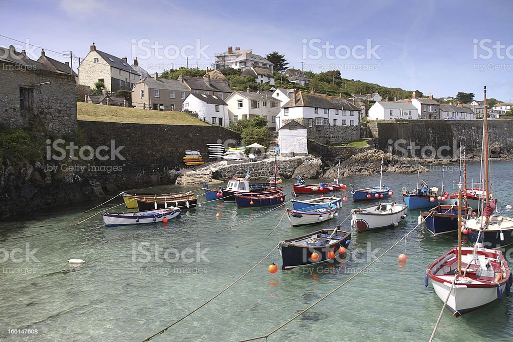 Coverack harbour Cornwall England UK stock photo