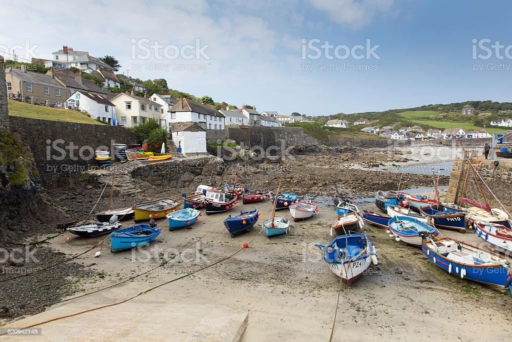 Coverack harbour  Cornwall England UK The Lizard peninsula low tide stock photo
