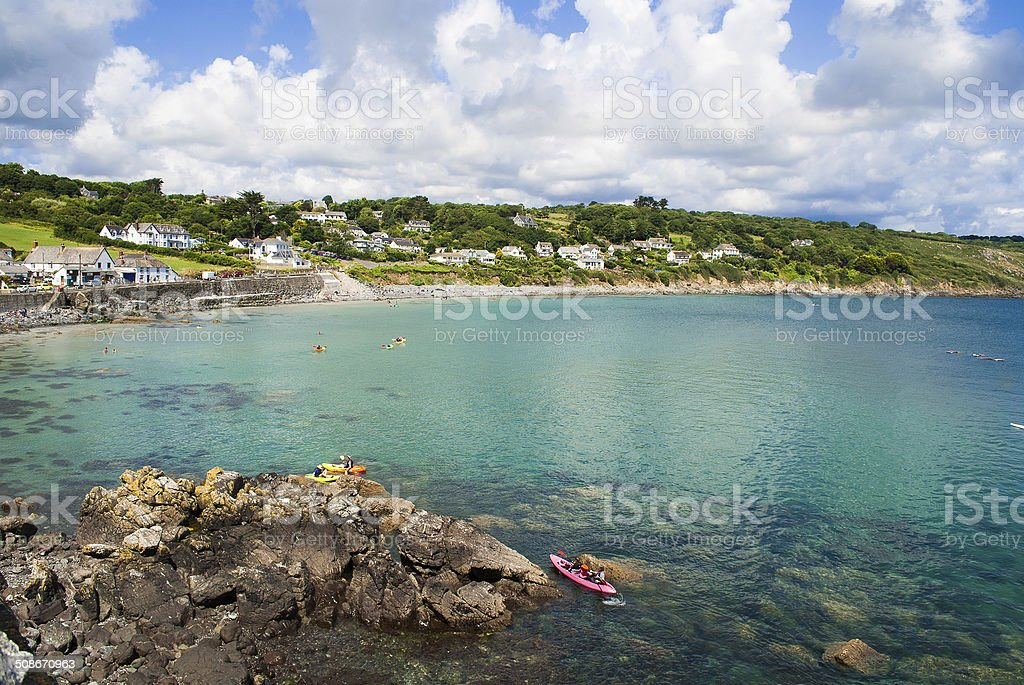 Coverack Harbour, Cornwall. stock photo
