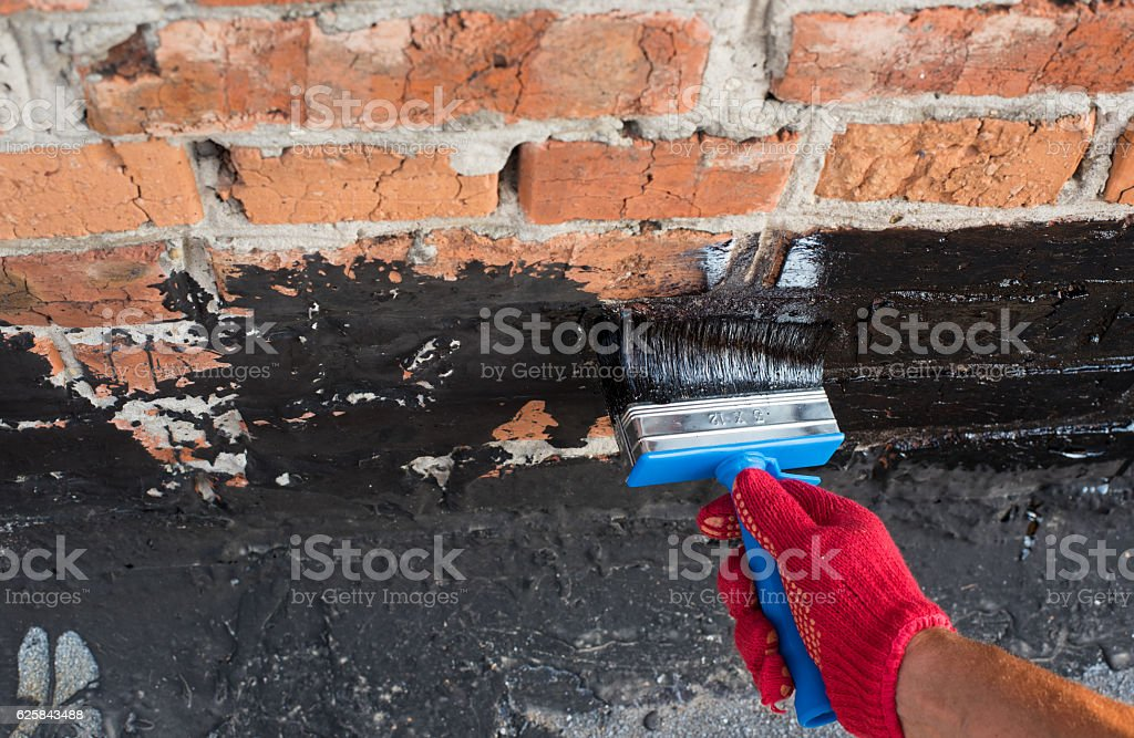 covered brick wall  primer stock photo