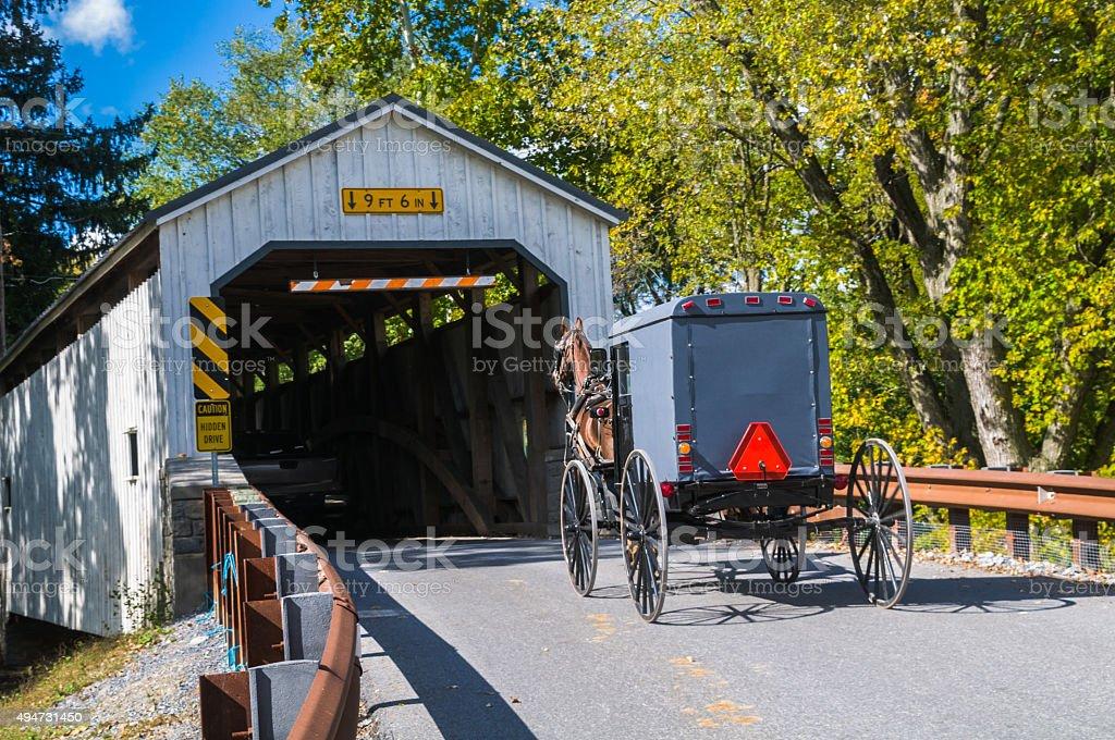 Covered Bridge and Amish Buggy stock photo