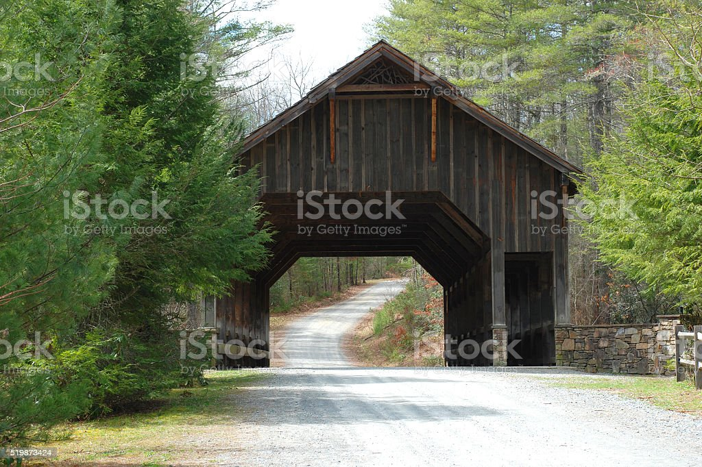 Covered Bridge at DuPont Forest stock photo