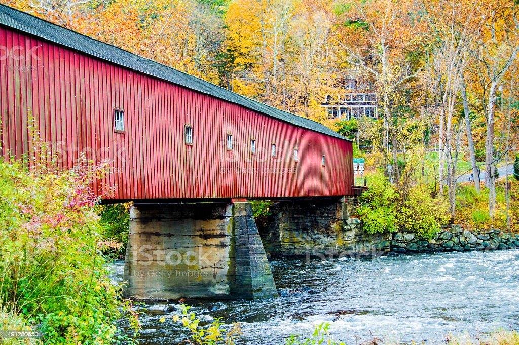 Covered Bridge at Fall stock photo