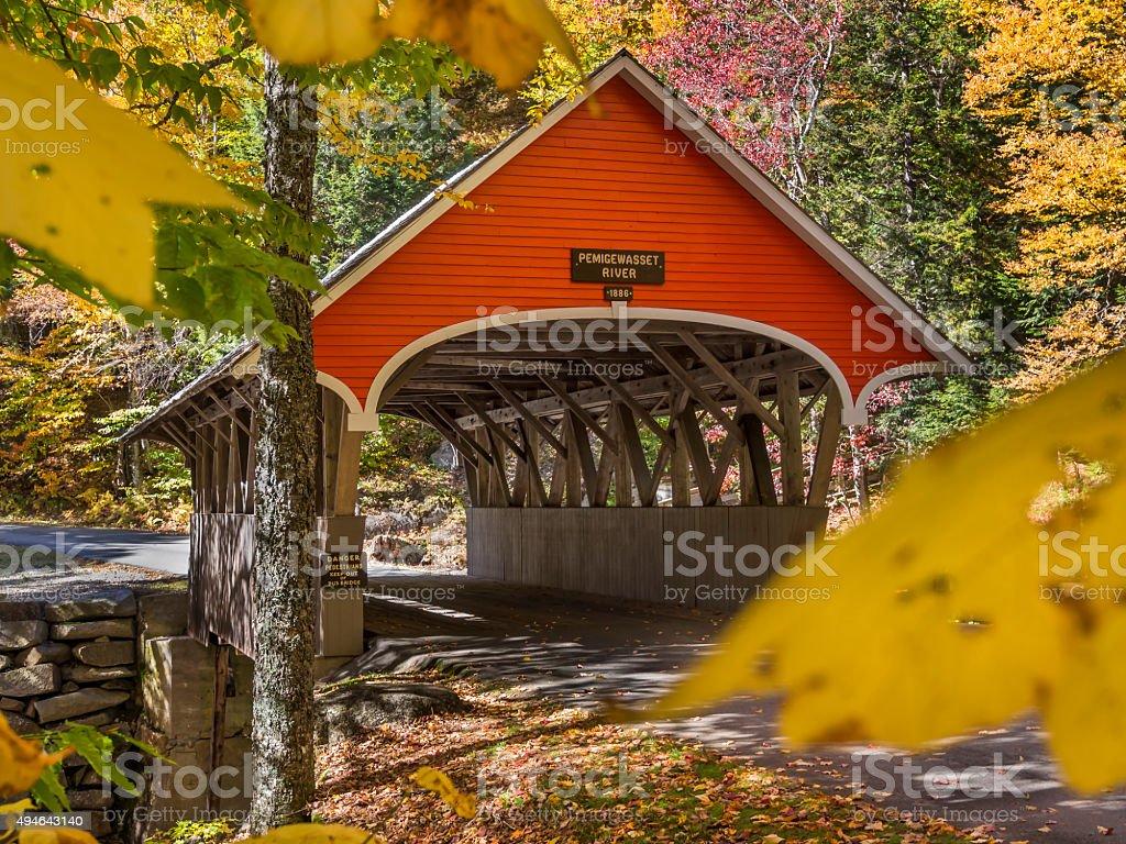 Covered bridge entrance stock photo
