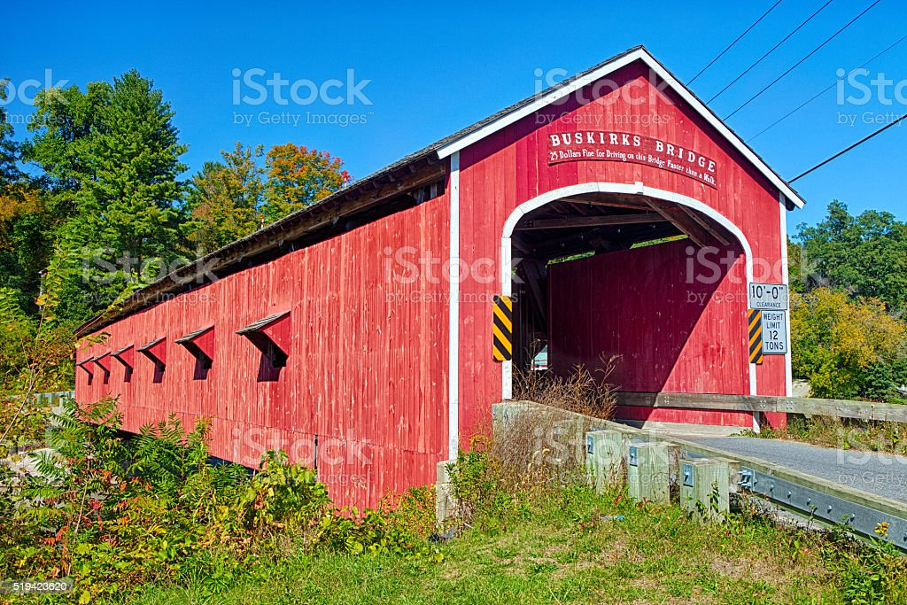 Covered Bridge From New York State stock photo