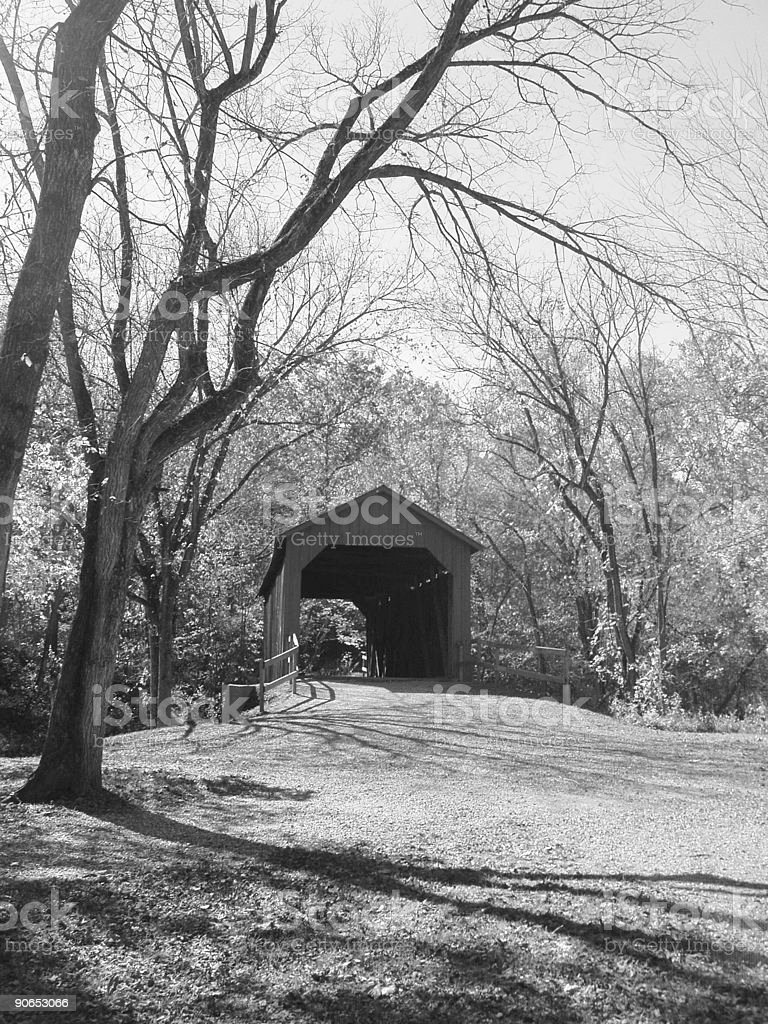 Covered Bridge - Grayscale royalty-free stock photo