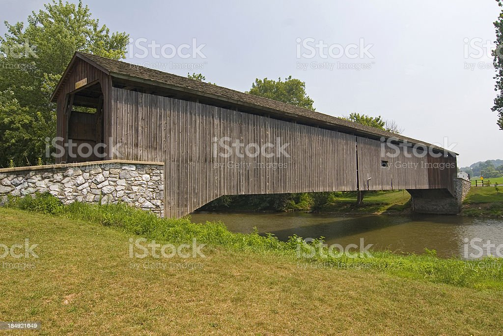 Covered bridge in Amish county stock photo