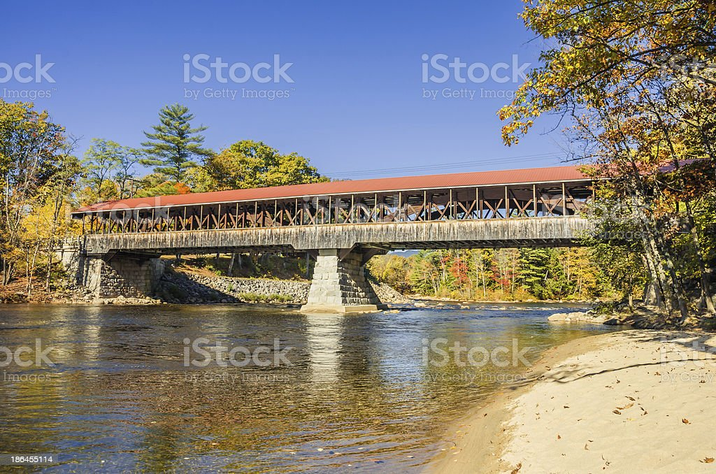 Covered Bridge  in Autumn stock photo