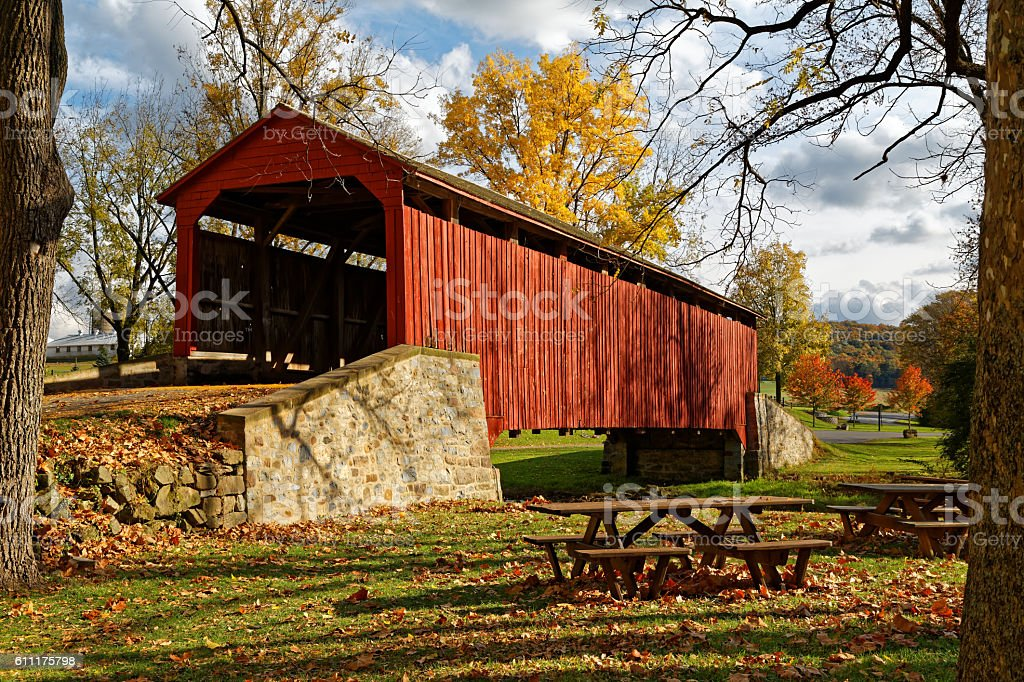 Covered Bridge in Autumn stock photo