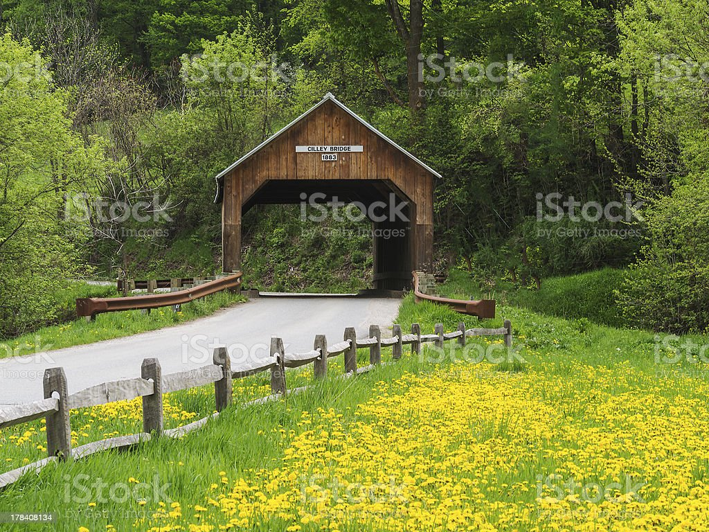 Covered bridge in New England stock photo