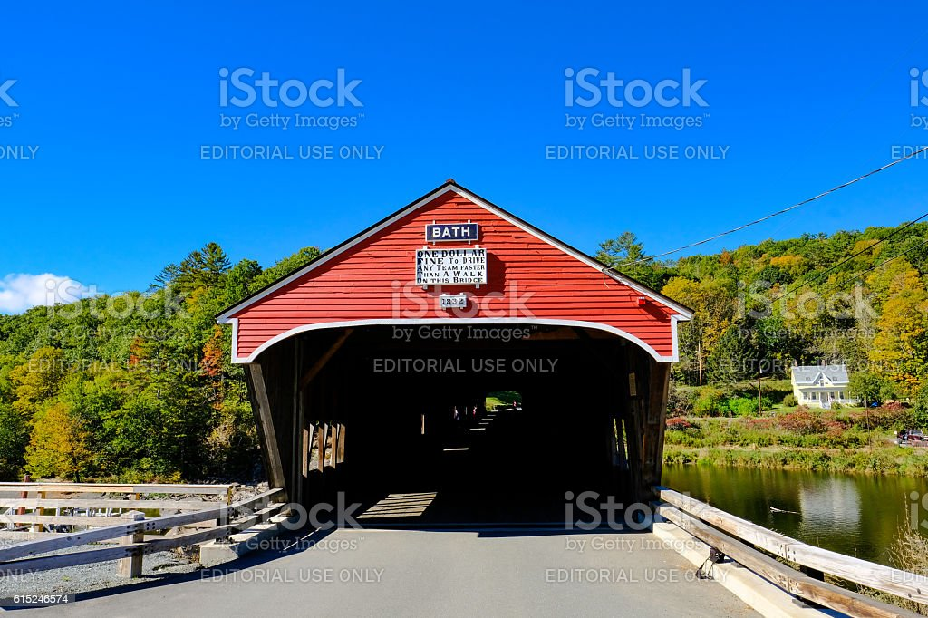 Covered Bridge In New England, United States stock photo