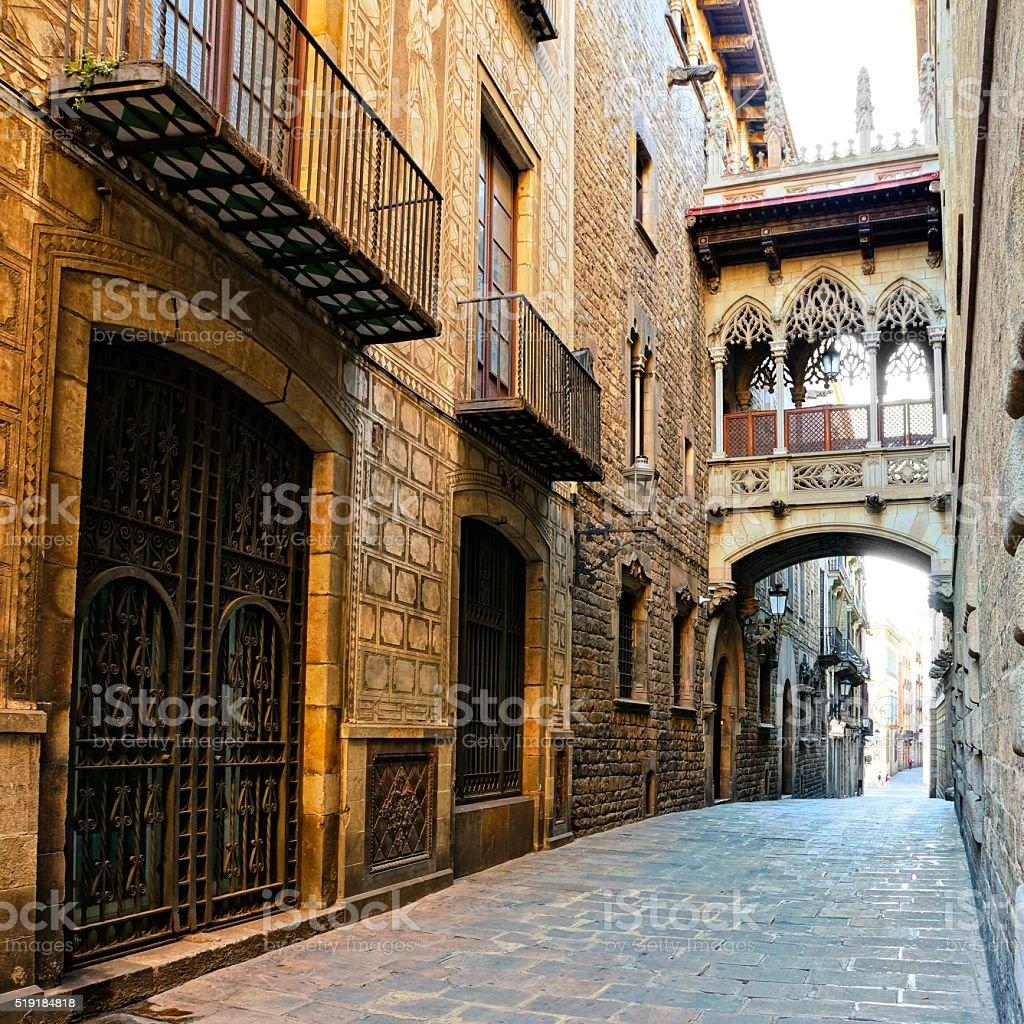 Covered bridge in the Gothic Quarter of Barcelona, Spain stock photo