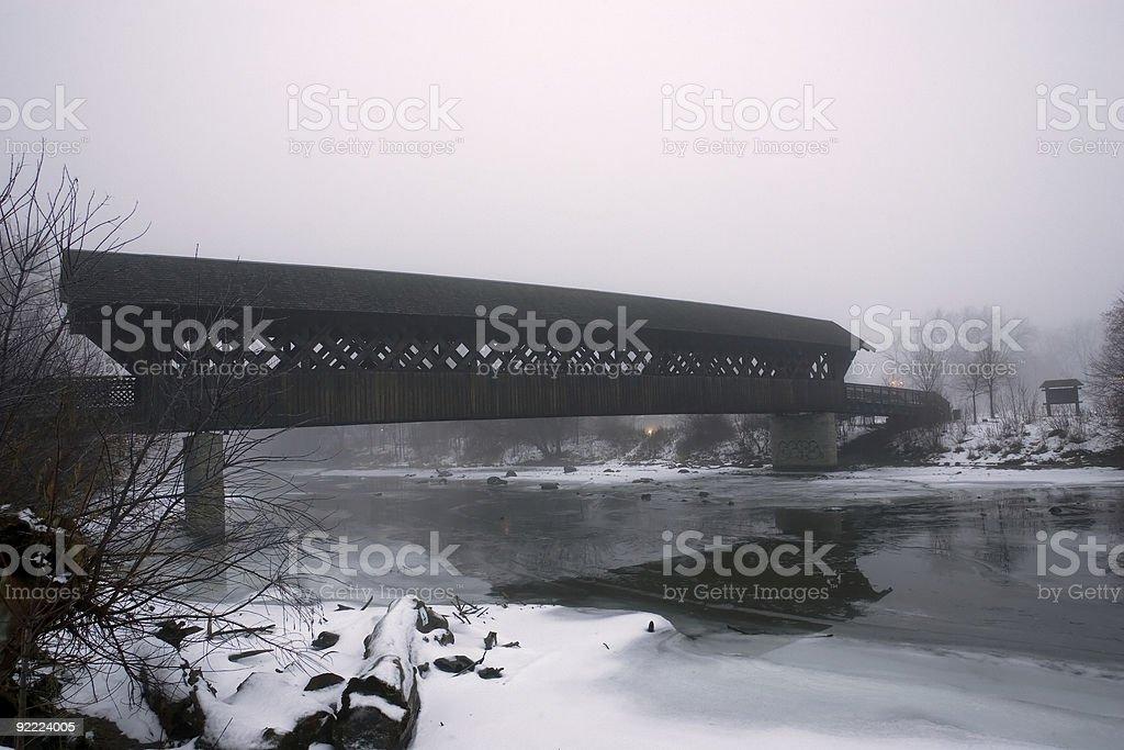 Covered Bridge in Winter stock photo