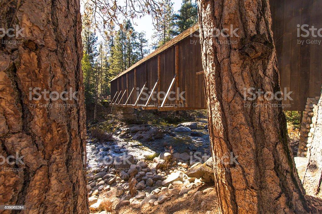 Covered bridge in Yosemite stock photo
