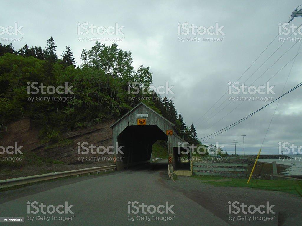 Covered Bridge Near Bay of Fundy stock photo