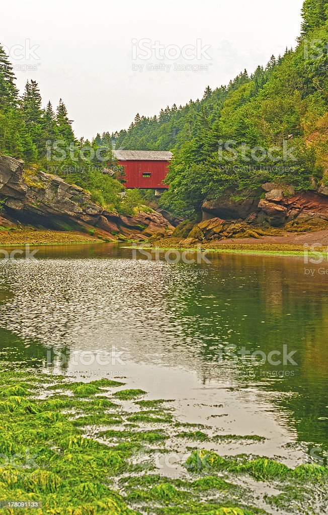 Covered bridge over a tidal stream royalty-free stock photo