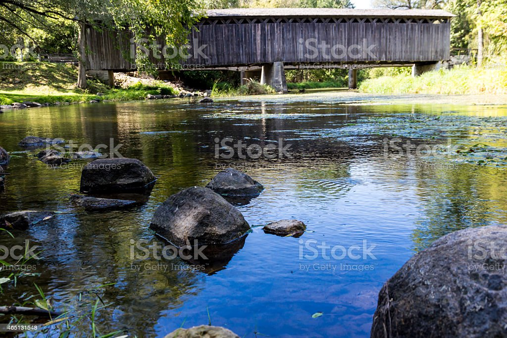 Covered Bridge Park, Cedarburg, WI stock photo