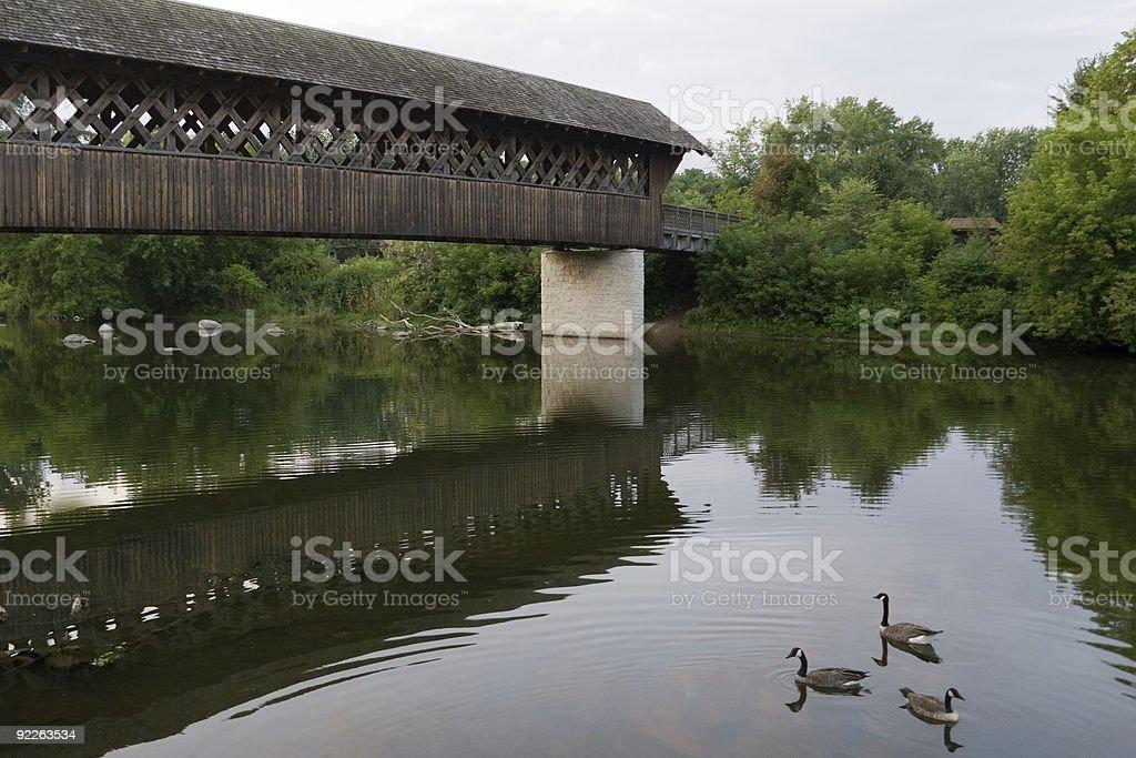 Covered Bridge Perspective stock photo