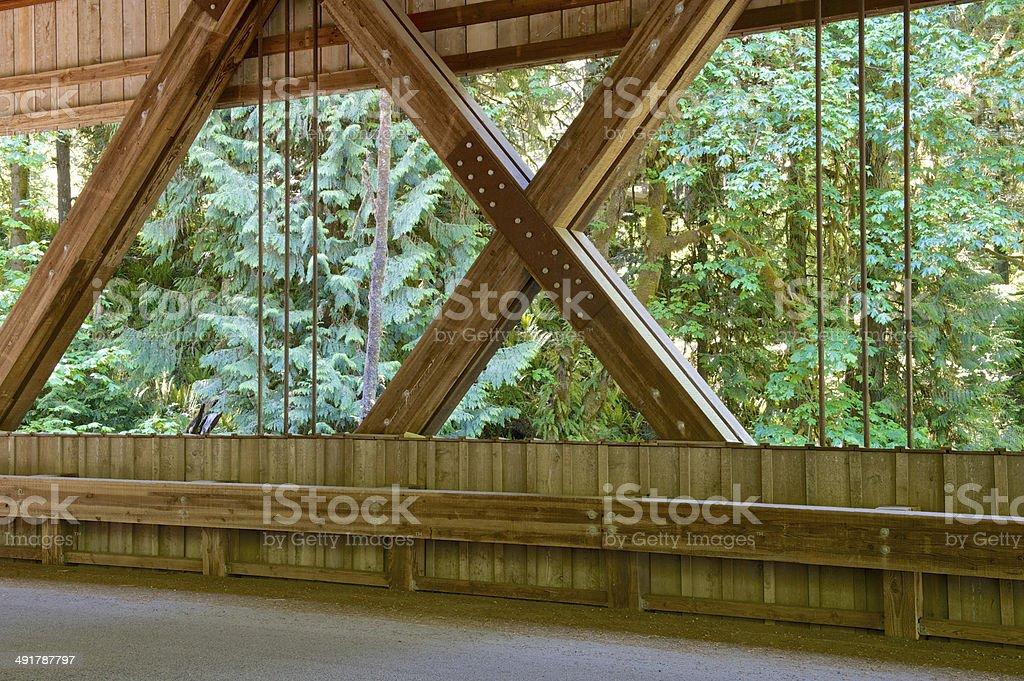 Covered Bridge Side Cedar Creek Historic Landmark Clark County Washington stock photo