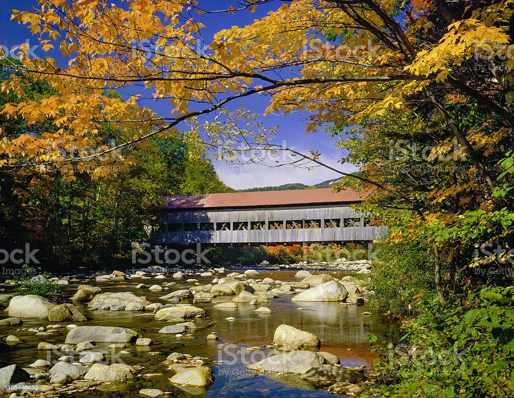 covered bridge, stream, autumn, Hew Hampshire stock photo