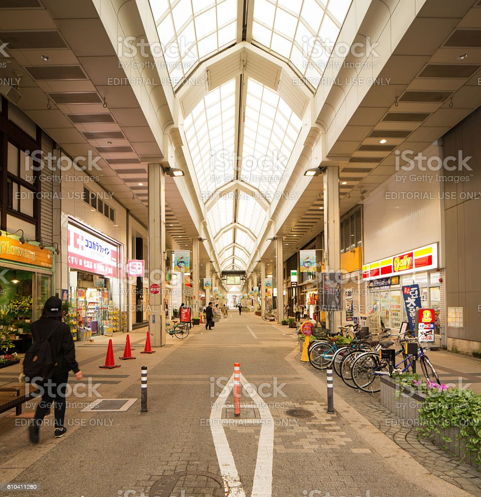 Covered commercial street in Niigata Japan stock photo