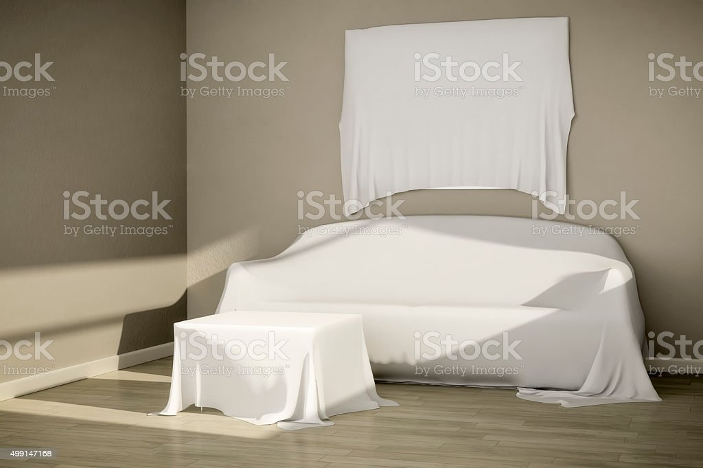 covered furniture stock photo