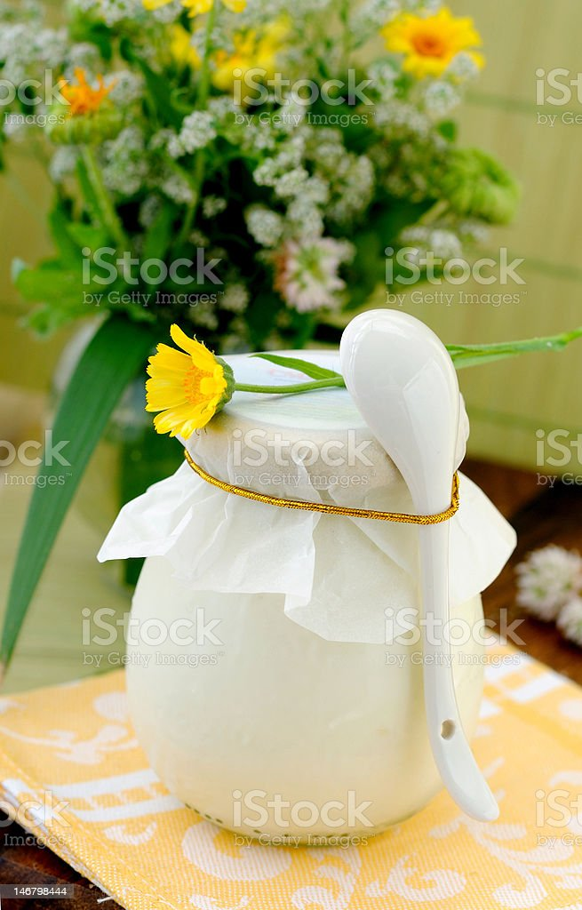 Covered jar with some dairy product. royalty-free stock photo