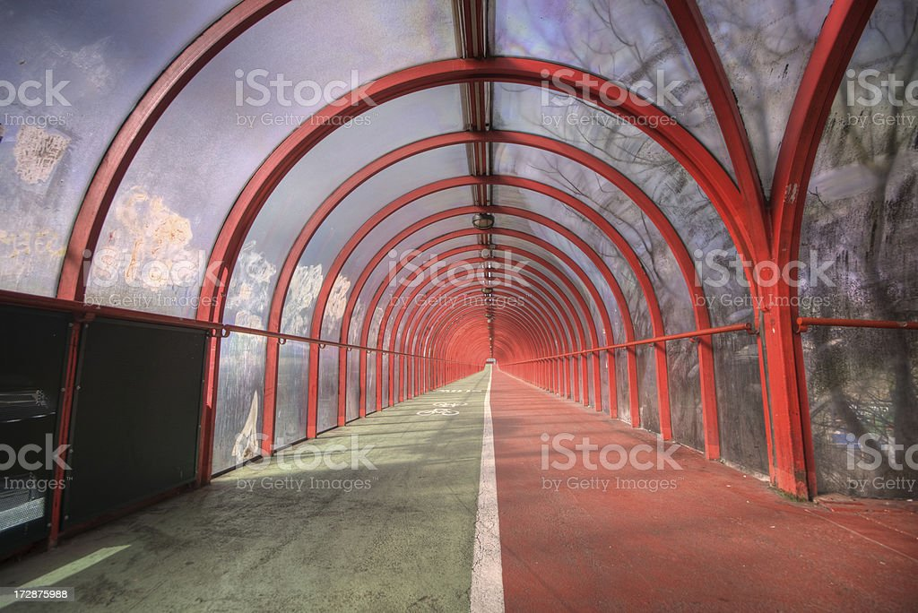 Covered Pedestrian Walkway/Cycleway royalty-free stock photo