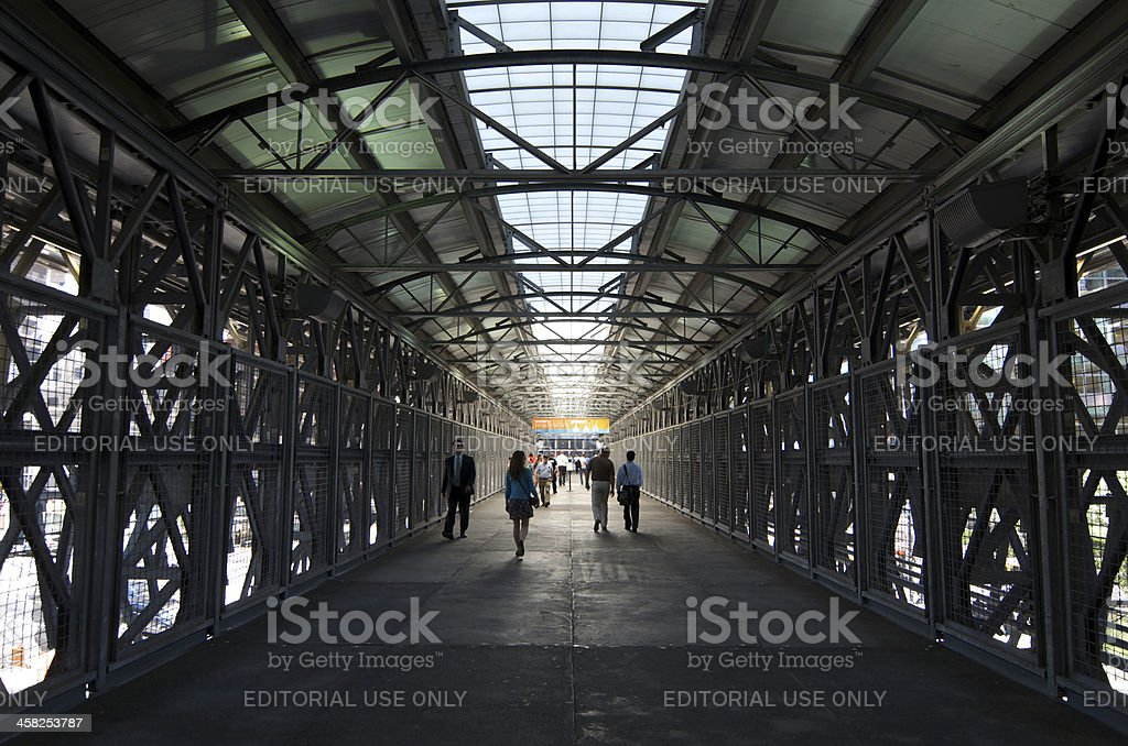 Covered Pedstrian Walkway Above West St, Lower Manhattan, NYC royalty-free stock photo