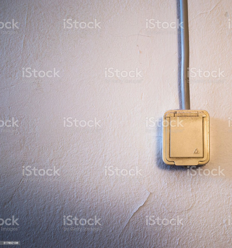 Covered power outlet stock photo