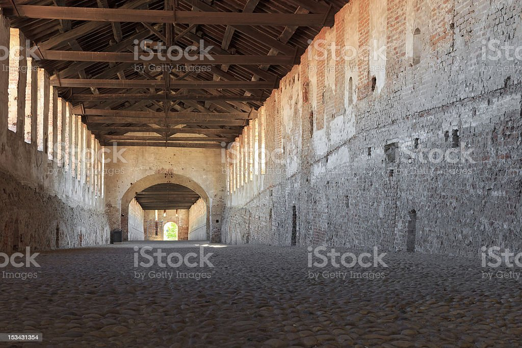 Covered road in Vigevano castle stock photo