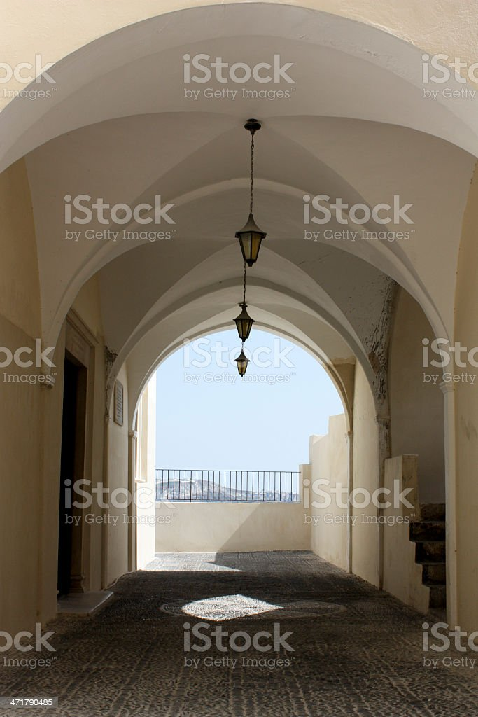 Covered Sidewalk with Three Lanterns royalty-free stock photo