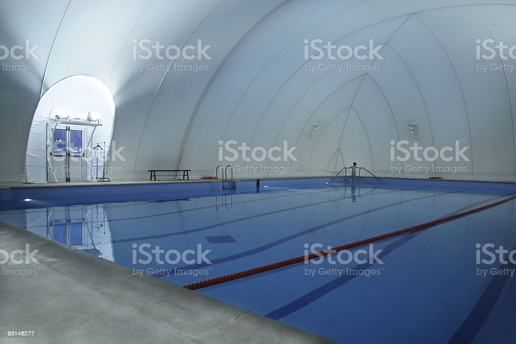 Covered swimming pool (gigant bubble) stock photo