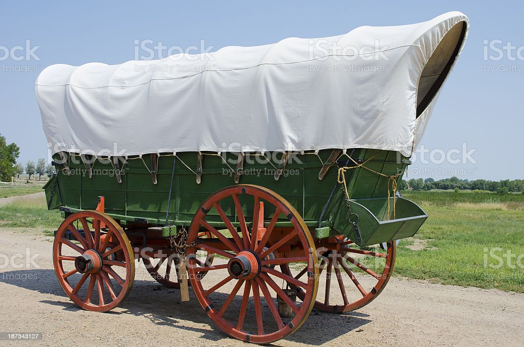 Covered Wagon at Bent's Old Fort National Historic Site stock photo