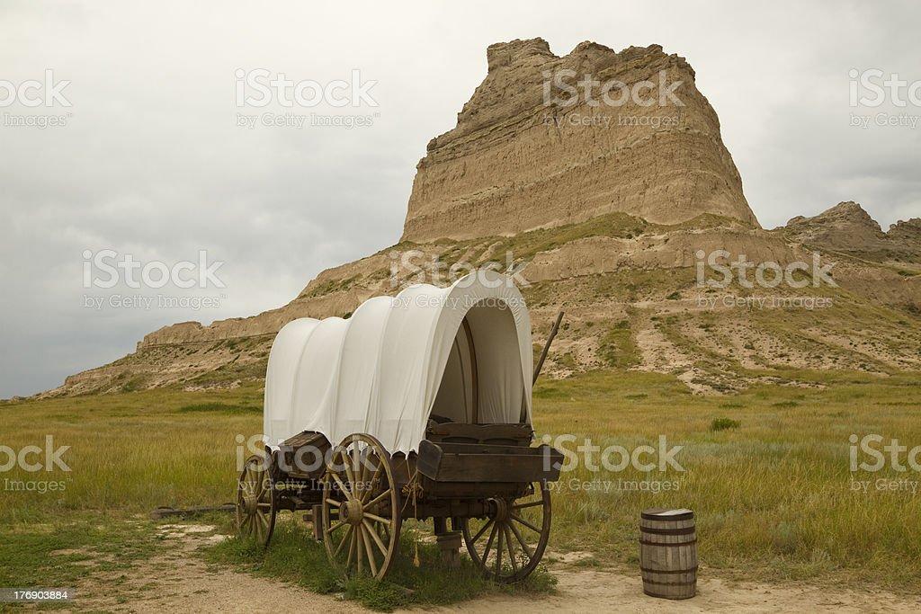 Covered Wagon At Scottsbluff stock photo