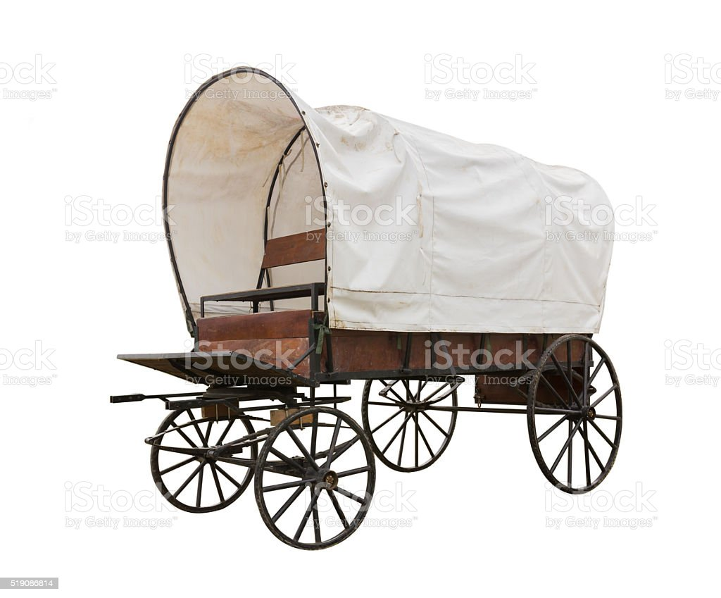 Covered wagon isolate on white stock photo
