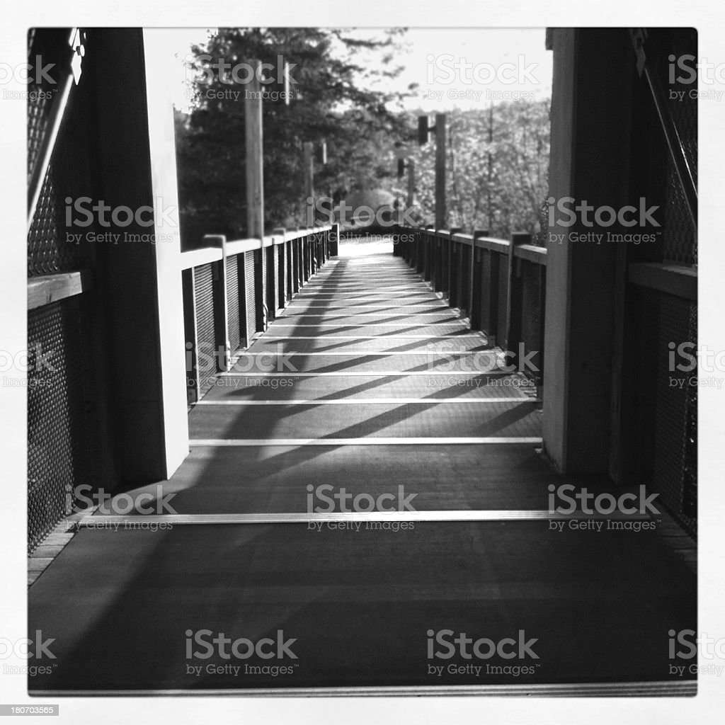 Covered walkway at Snoqualmie Falls stock photo