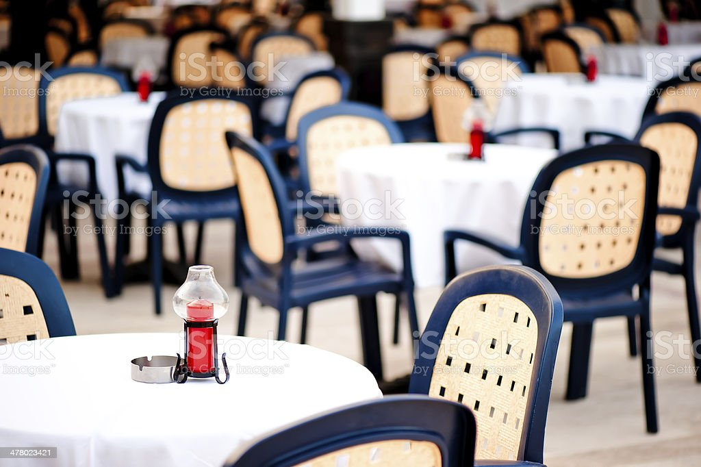 covered with a tablecloth tables for visitors to the cafes royalty-free stock photo