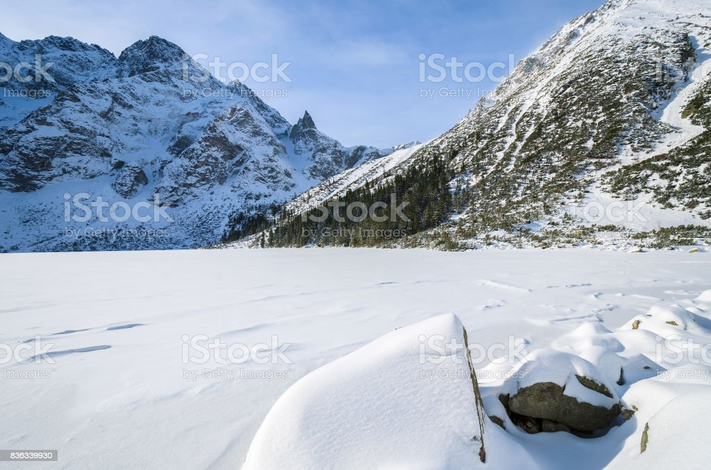 Covered with snow beautiful Morskie Oko lake in winter, High Tatra Mountains, Poland stock photo