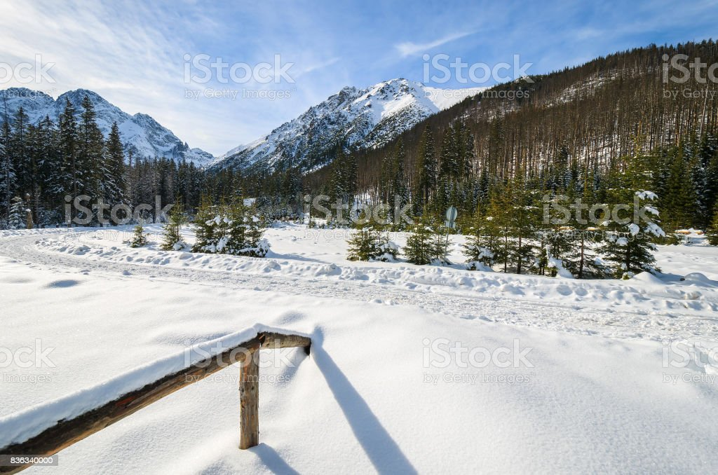 Covered with snow landscape near Morskie Oko lake in winter, High Tatra Mountains, Poland stock photo