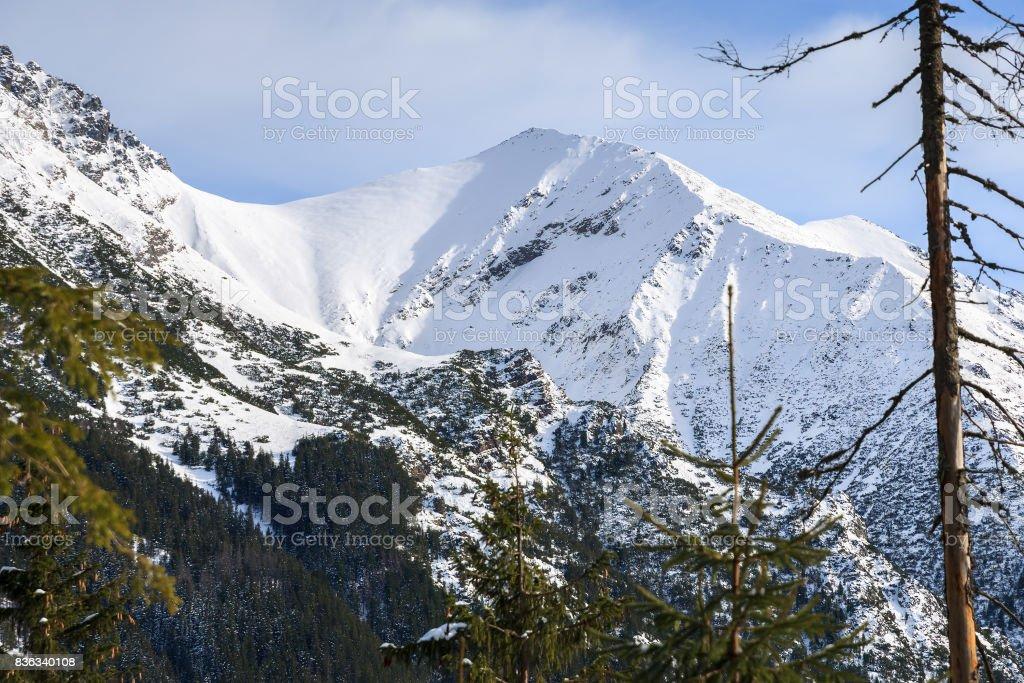 Covered with snow mountain near road to beautiful Morskie Oko lake in winter, High Tatra Mountains, Poland stock photo