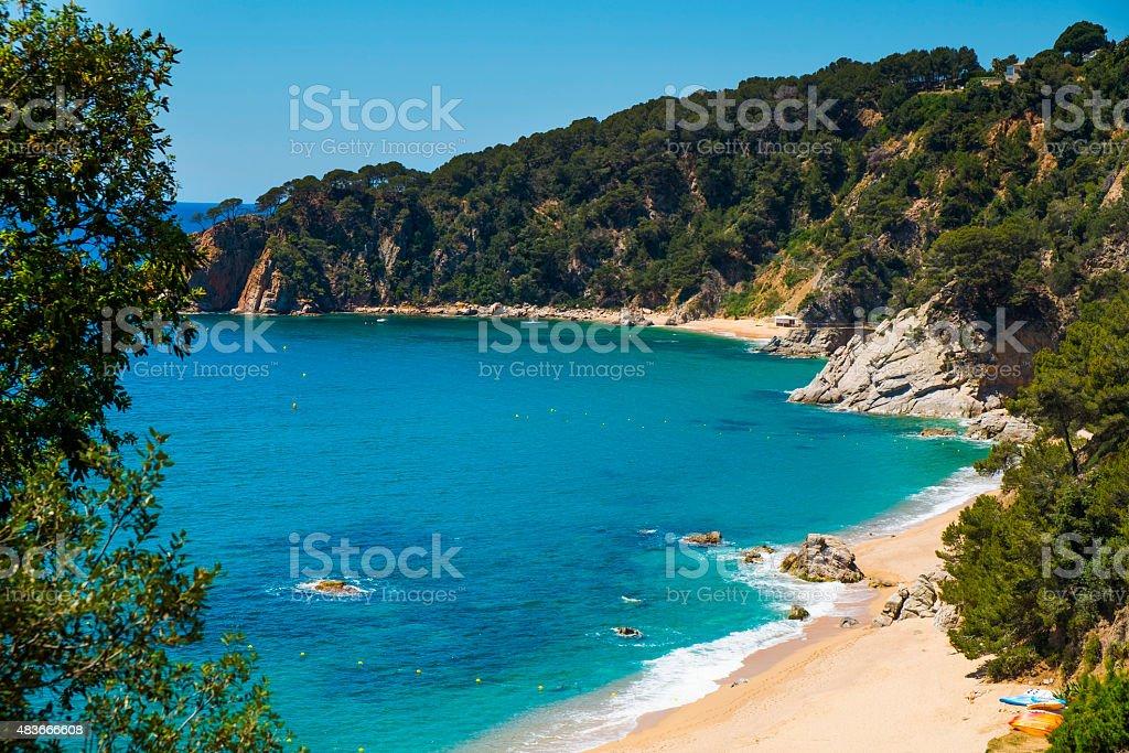 coves of Cala Llorell in Tossa de Mar, Spain stock photo