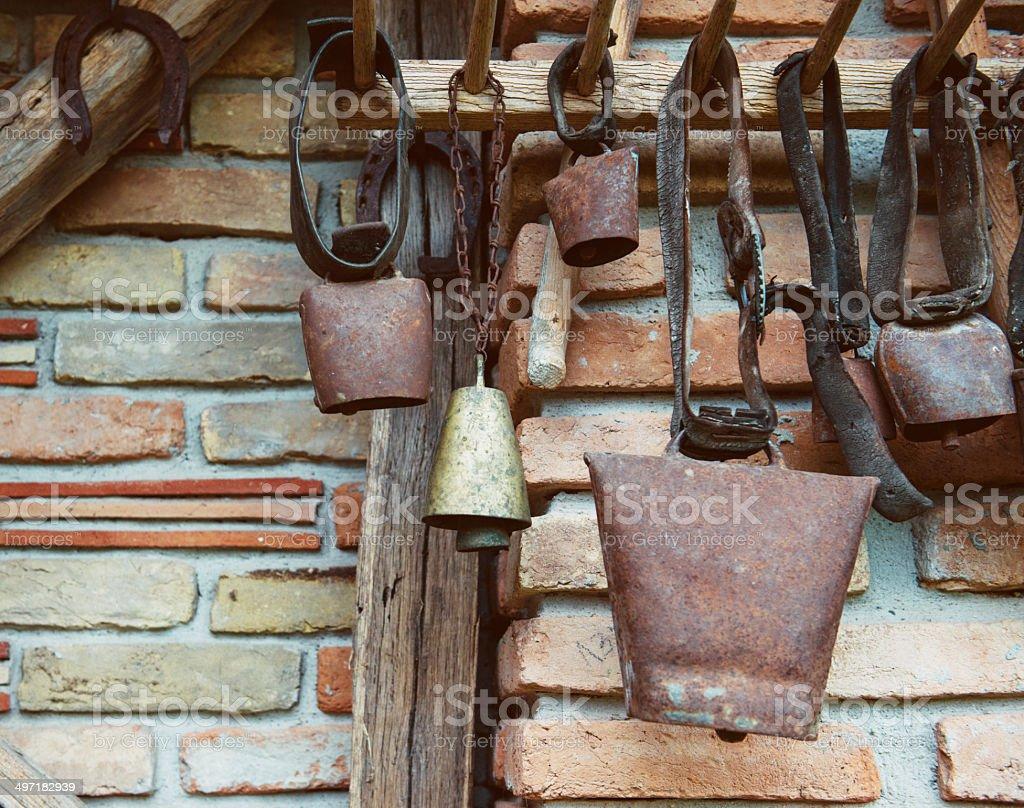 Cow bells stock photo